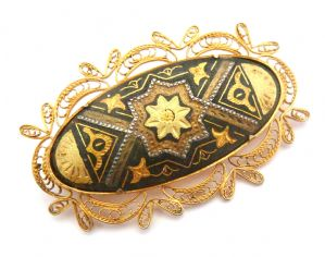 Vintage Damascene Arabesque Style Filigree Brooch.